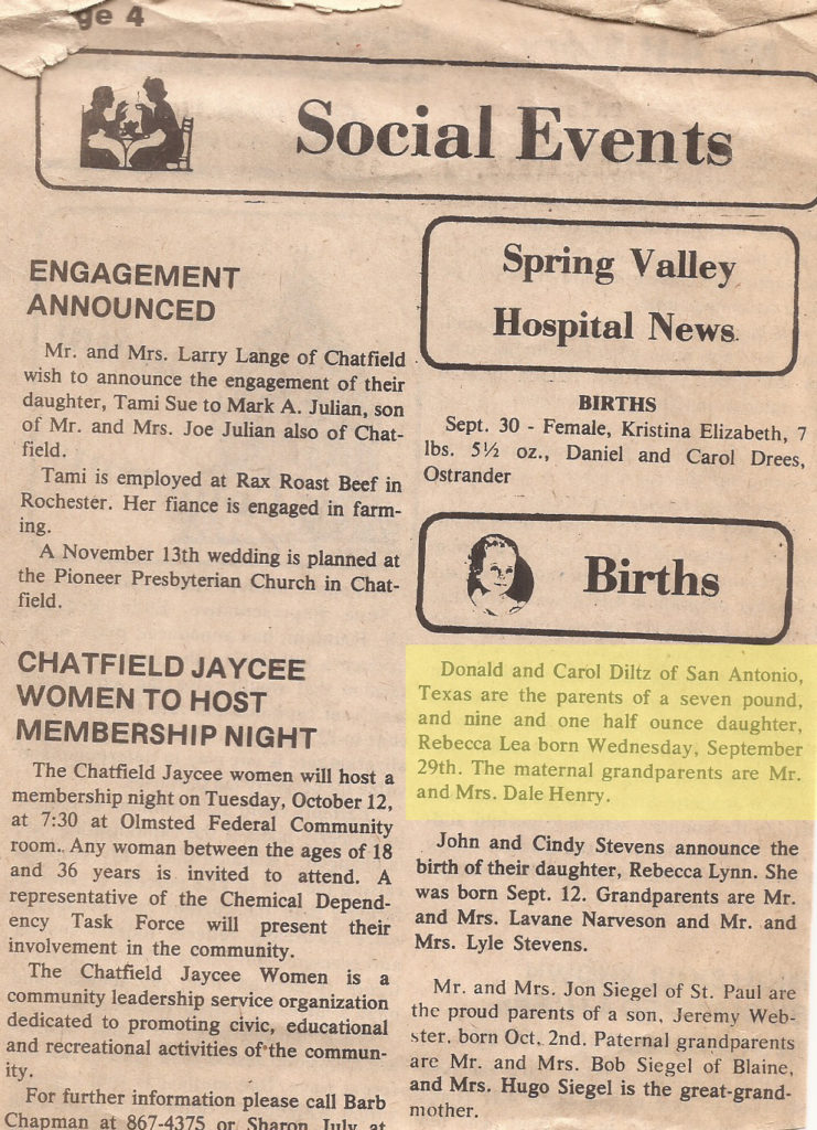 1982 becca birth announcement